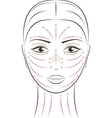 Female face Massage lines vector image vector image