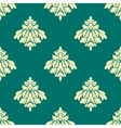 Floral beige damask seamless pattern on green vector image vector image