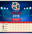 group d qualifier table russia 2018 world cup vect vector image vector image