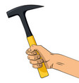 hand drawn hammer in hand vector image