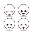 kawaii cartoon circle face expression cute icon vector image vector image