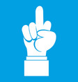 middle finger hand sign icon white vector image vector image