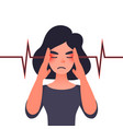 migraine health problems and pain head vector image vector image