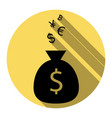 money bag sign with currency symbols flat vector image vector image