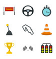motor race icons set flat style vector image vector image