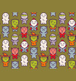 pattern with children in costumes for halloween vector image vector image