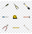 realistic forceps plumb ruler carpenter and vector image vector image