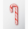 realistic xmas candy cane isolated on transparent vector image vector image