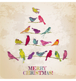 Retro christmas card - birds on christmas tree vector | Price: 1 Credit (USD $1)