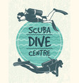 retro poster for sport club diving vector image