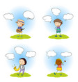 set character with speech balloon vector image vector image