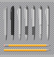 set of realistic office pens and pencil isolated vector image