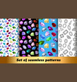 set seamless patterns with jewelry gems vector image vector image