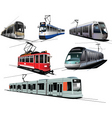six trams vector image vector image