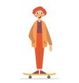 skateboarder standing on a skateboard happy young vector image