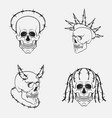 skull symbols set collection of dark vector image