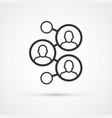 social network flat line trendy black icon eps10 vector image