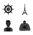 steering wheel eiffel tower and other web icon in vector image vector image