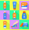 sunscreen icons set flat style vector image vector image