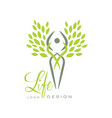 trendy life logo template with silhouette human vector image vector image