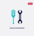 two color garage screwdriver icon from tools vector image