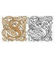 vintage initial letter s with baroque decoration vector image vector image