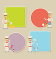 chef presenting recipe card flat set vector image