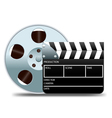 movie clapper board and film reel vector image