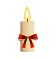 christmas candle with red bow flame icon vector image