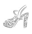 Elegant womens high heel shoe on white background vector image