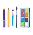 palette with paints and brushes icons vector image