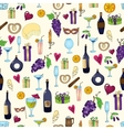Wine and coctail seamless background Holiday vector image