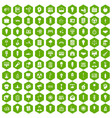 100 lamp icons hexagon green vector image vector image
