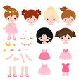adorable little princess constructor flat vector image vector image