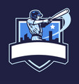 baseball player club badge design vector image vector image