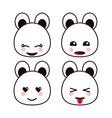 bear teddy kawaii cartoon cute icon set vector image vector image