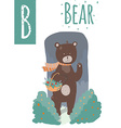 bear with colorful background staying in wood with vector image vector image