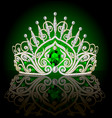 beautiful diadem crown female with emeralds on a vector image vector image