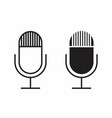 black and white microphones icons vector image
