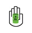 black hand symbol holding green oil barrel icon vector image