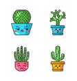cactuses cute kawaii characters vector image