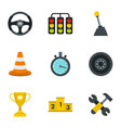 car racing icons set flat style vector image vector image