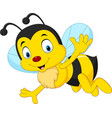 cartoon happy bee waving vector image vector image