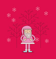 christmas pink santa claus decoration with tree vector image