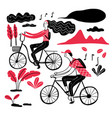 couple cycling in the park collection of hand vector image vector image