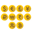 Currency Icons Set Flat design with long shadow vector image vector image