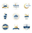 design templates set for ramadan kareem lettering vector image