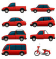 different types of transports in red color vector image vector image