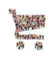 diverse people group in shopping cart shape vector image vector image