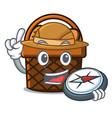 explorer bread basket mascot cartoon vector image vector image